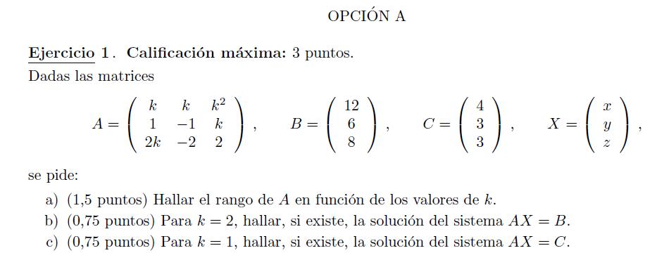 selectividad ( PAU) Madrid matemáticas Junio 2012 examen resuelto solución
