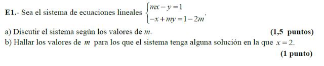 discutir sistemas de ecuaciones con parámetros