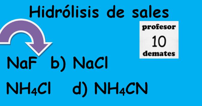 Hidrolisis de sales ejercicios resueltos química